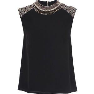 French Connection Dark Angel Embellished Top